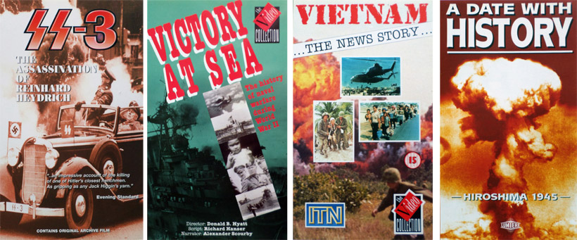 SS-3, The Assassination of Reinhard Heydrich, for CMM, one of my smaller clients that produced a variety of unusual titles. Victory At Sea, NBC product, released through The Video Collection.Vietnam, The News Story. This was part of an ITN News package of programmes released through The Video Collection. Hiroshima 1945- A Date With History, Lumiere Pictures.
