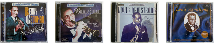 Benny Goodman and Louis Armstrong, 4 CD designs.