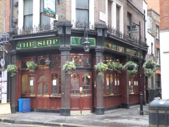 The Ship Pub, down the road from the Marquee Club, Wardour Street.
