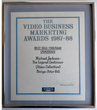 The Video Business Marketing Award for Design 1987 - 1988.