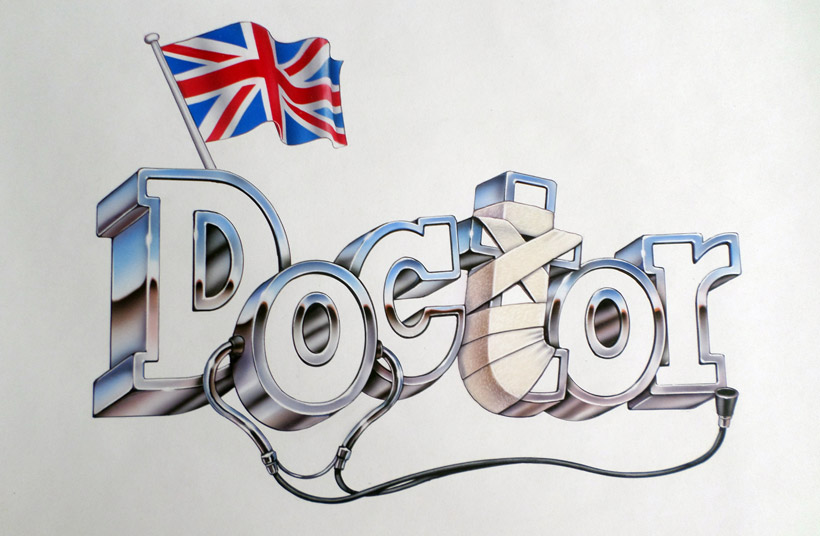 Another Jeff Nicholson airbrushed chrome logo for a small series called DOCTOR.