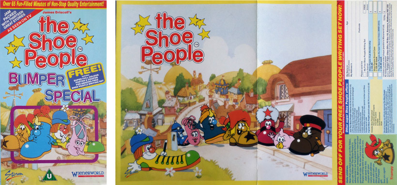 The Shoe People Bumper Special video sleeve, note the attached poster and Offer panel. This made the sleeve very bulky and expensive to produce!