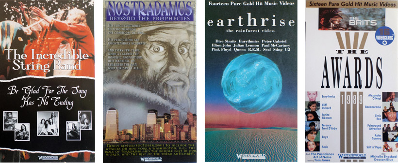 4 video sleeves, The Incredible String Band, Nostradamus-Beyond The Prophecies, Earthrise - The Rainforest Video, (My artwork only), The Brits - The Awards 1989 (the typesetting was a starter for the Decade Of Music Video to come later)