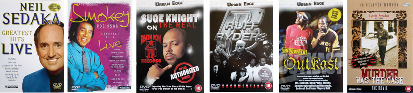 Neil Sedaka - Live, Smokey Robinson - Live,Suge Knight - The Real,Ruff Ryders - Documentary, Outcast - Uncovered,Murder Was The Case - The Movie.