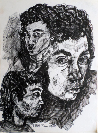 Black and white studies of me drawn with my Rotring pen