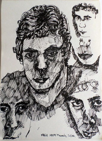 More Black and white studies of me drawn with my Rotring pen